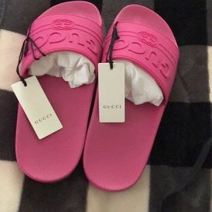 Authentic Pink Gucci Rubber Slides